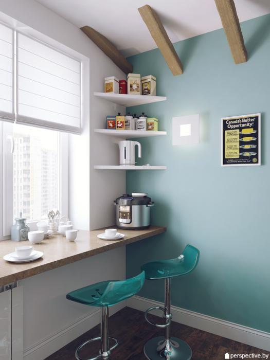 Дизайн кухни, светлая кухня фото, стол-подоконник кухня: