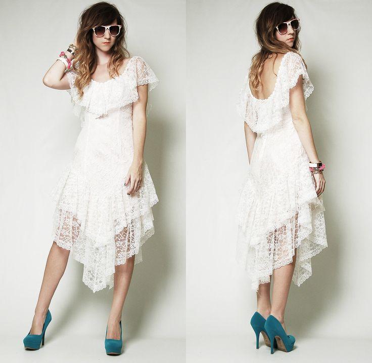 Bohemian Bride Vintage Ymetrical White Lace Wedding Dress Victorian Steampunk Hippie 1970s Punk Goth