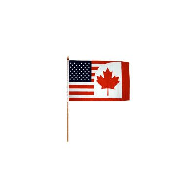 FlagsImporter USA Canada Traditional Flag and Flagpole Set