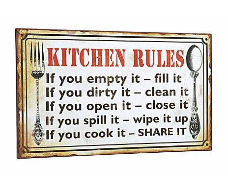 Wijze wandplaten: Wandplaat Kitchen Rules, metaal