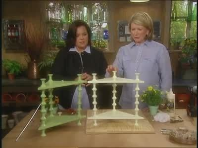 Alexis Stewart and Jennifer Koppelman Hutt exchange witty banter as they watch Martha Stewart and Rosie O Donnell build a corner shelf in an archive video.