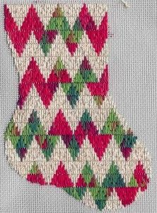 Holiday Rick-rack Mini-sock Free Needlepoint