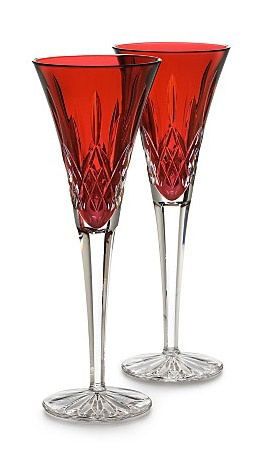 "Waterford Crystal ""Lismore"" Crimson Champagne Flutes"