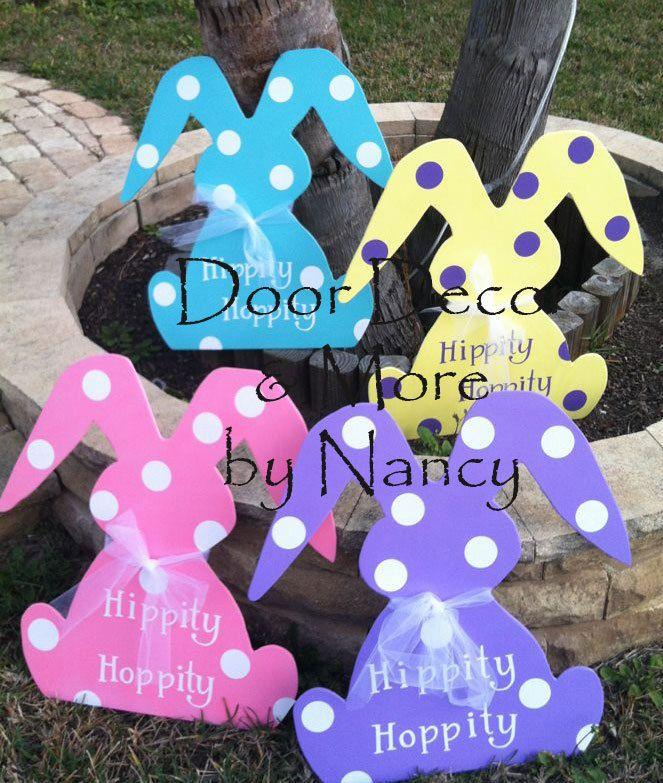 Easter Bunny Wood Door Hanger by NancysDoorDecor on Etsy, $35.00