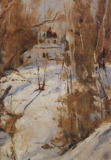 Winter in Abramtzevo, 1886, oil on canvas by Valentin Alexandrovich Serov, Russian, 1865-1911.