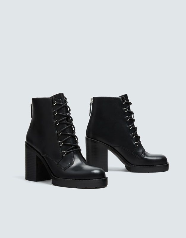 Black Lace Up High Heel Ankle Boots Pull Bear Schnurstiefeletten Hochhackige Schuhe Stiefeletten