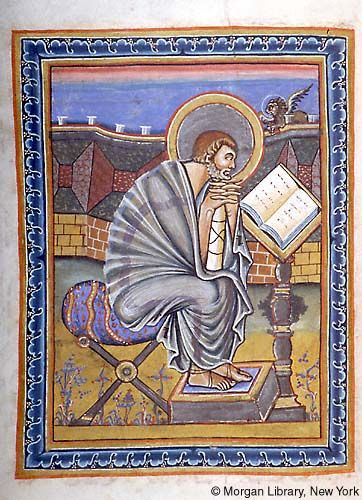 Looks lost in thought Medieval Manuscript Images, Pierpont Morgan Library, Gospel book (MS M.728). MS M.728 fol. 63v