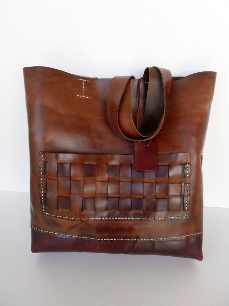 Tемно-русый кожаный тотализатор большой кожаный от leathertotes