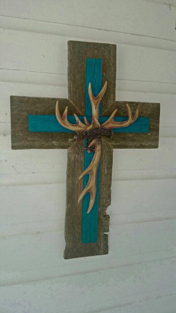Hunter SALE Unique Rustic Turquoise Country Deer Antler Cross