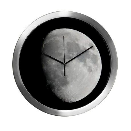 Half moon in black sky Modern Wall Clock on CafePress.com by fotosbykarin #moon #halfmoon #wallclocks #clocks #cool #blackandwhite #photography #fotosbykarin #cafepress
