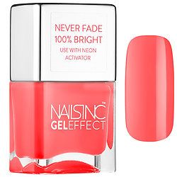 Coat nails with this fade-proof Great Eastern Street Stay Bright Neon Nail Polish. The high-performance, neon coral shade is ultra-intense and perfect for the last days of summer. #NailsInc. #Sephora