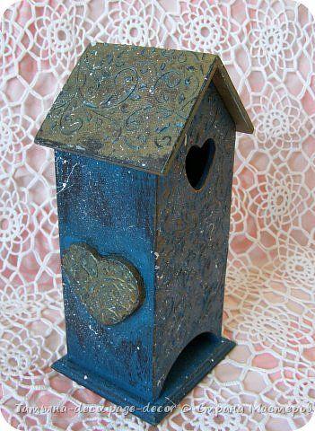 Декор предметов Декупаж Чайный домик Бирюзовый узор Дерево Краска фото 3