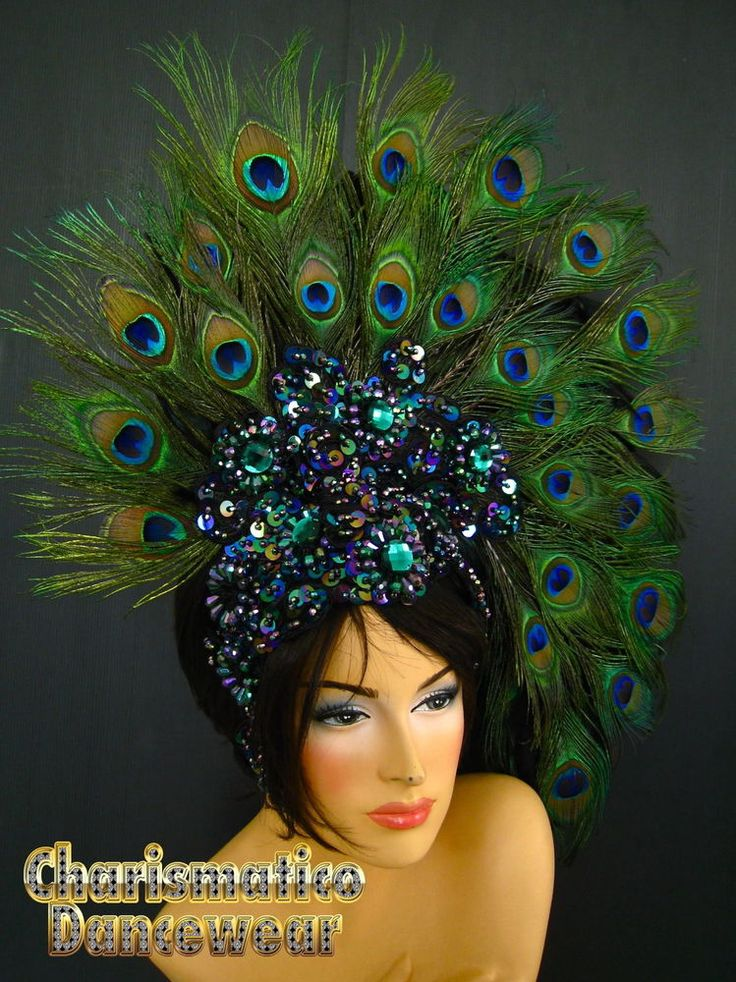 casque fantaisie plumes de paon vert spectacle revue cabaret transformiste in v tements. Black Bedroom Furniture Sets. Home Design Ideas