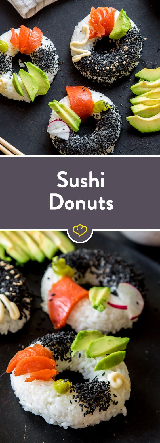 Der Geschmack bleibt aber das japanische Fingerfood bekommt einen ganz neuen Look! Der Reis wird mit Avocado, Lachs, Wasabi und co. zum Sushi Donut!
