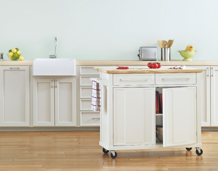 A Mobile Kitchen Island Adds Instant Counter Space
