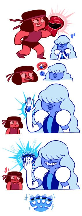 like, I dunno you guys but having in mind how Garnet's gauntlets look, it make me think which kind of weapons the small mommas have, I personally think Ruby has a cute lil boxing glove and Sapphire having the fanciest and most magical brass knuckles to ever exist