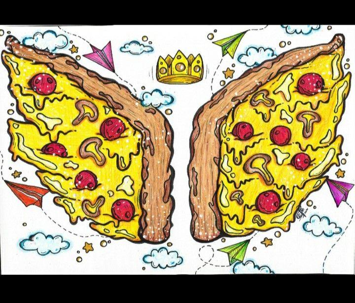 Alas De Pizza Art Mural De Fotos Ilustraciones Arte