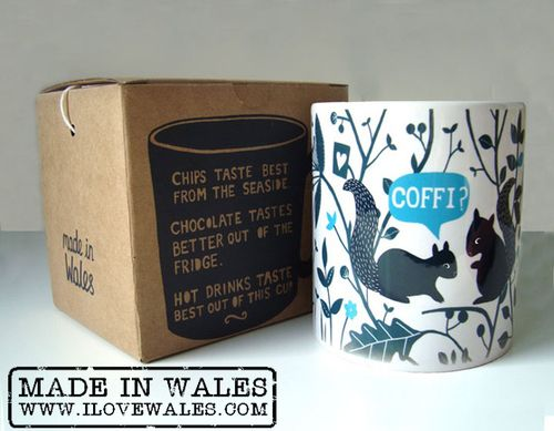 Welsh Squirrels Mug (Coffi) - Made in Wales available from www.ILOVEWALES.com