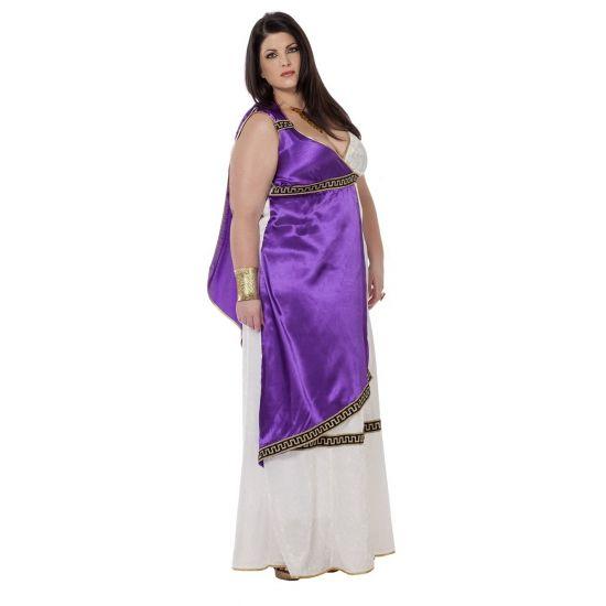 Grote maat Romeinse jurk Livia. Deze luxe Romeinse dames jurk is paars met wit en is mooi afgewerkt met gouden randen. Voor romeinse accessoires kijk op onze website.