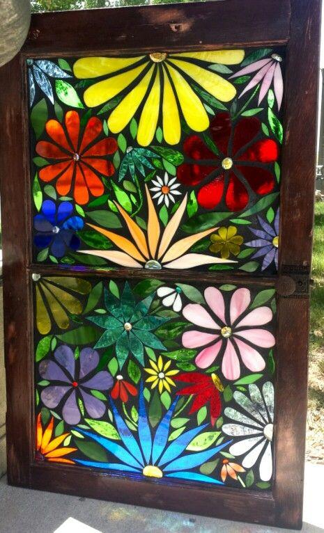 Mosaic stained glass flower window Www.facebook.com/ShatteredArt