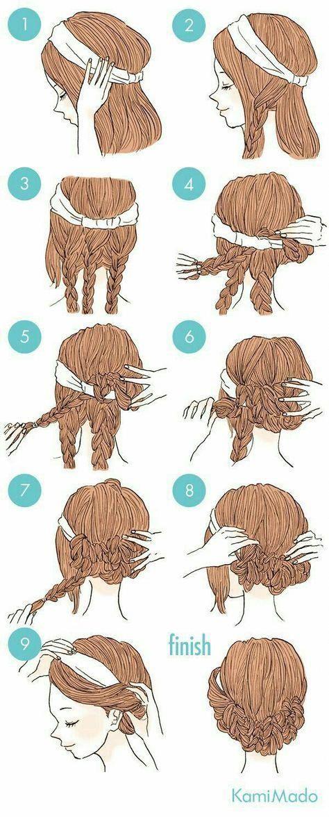 Die Zöpfe machen das für lange Haare so viel ein…