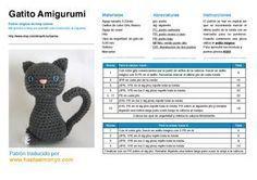 Gatito Amigurumi  - Patrón Gratis en Español (2páginas) aquí: http://issuu.com/lauragonzalezjimenez/docs/amigurumi_gatitos o aquí: http://hastaelmonyo.com/wp-content/uploads/2013/02/gatitos_hastaelmonyo.pdf