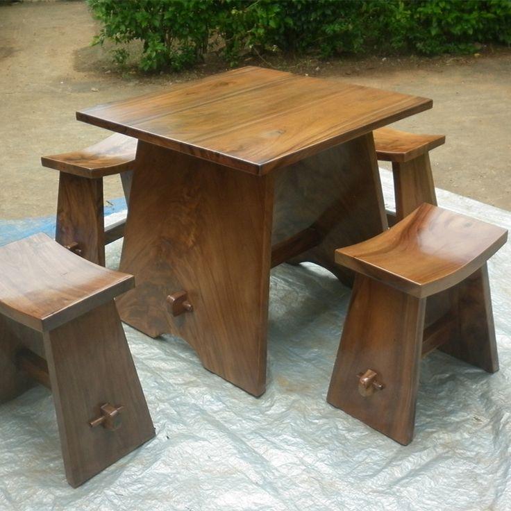 Colders Furniture set meja makan minimalis kayu trembesi | Unique Furniture ...