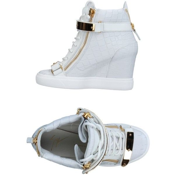 Giuseppe Zanotti Design High-tops & Sneakers (13.825 ARS) ❤ liked on Polyvore featuring shoes, sneakers, white, white hi top sneakers, white leather shoes, wedge heel sneakers, white high-top sneakers and white high top shoes