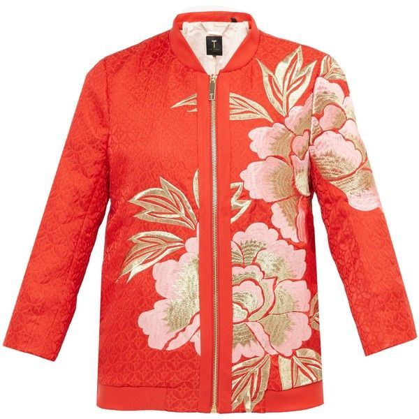 Ted Baker Herrne Regal Romance Bomber Jacket (2.974.445 IDR) ❤ liked on Polyvore featuring outerwear, jackets, orange, women, red jacket, red zip up jacket, print bomber jacket, red flight jacket and 3/4 sleeve jacket