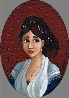 Madame Francaise egg tempera on board9 x 13.5cm(oval frame 16 x 20cm)