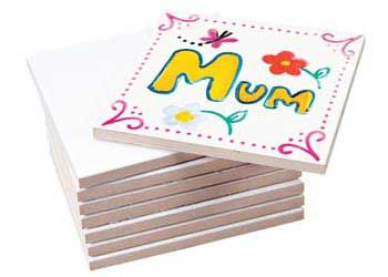 Ceramic Coasters Pack of 8. Square white glazed tiles perfect for creating little mosaic tiles or ceramic coasters.