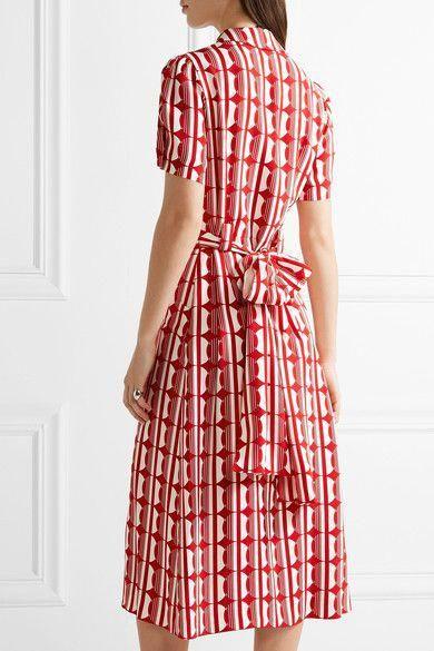 286db6e92 Miu Miu   Printed crepe de chine midi dress   NET-A-PORTER.COM #MiuMiu