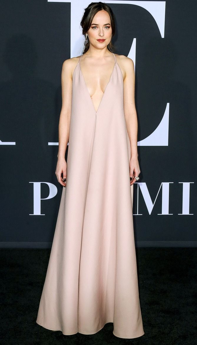 Dakota Johnson in a blush pink Valentino dress