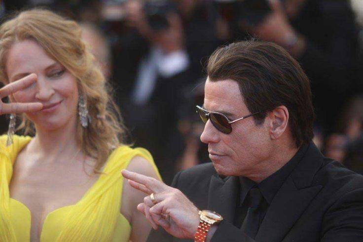 Uma Thurman e John Travolta a Cannes 2014. Foto di Pietro Coccia