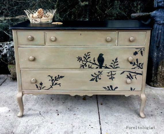 Solid Wood Hand Painted Taupe Black Distressed Dresser With Bird Shabby Chic Cottage Black Distressed Dresserdistressed Bedroom Furnituresolid