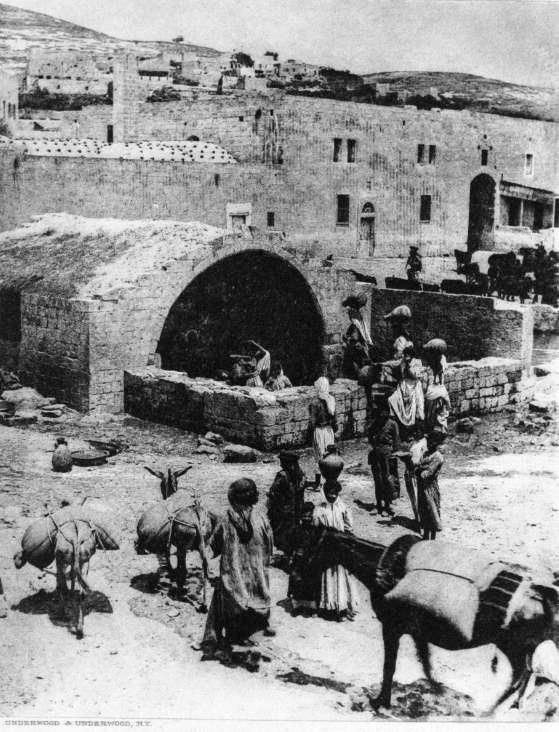 A 150 years old photo of Mary's Well, showing local women fetching water from the sacred well, just like Virgin Mary did 1,900 years before them...
