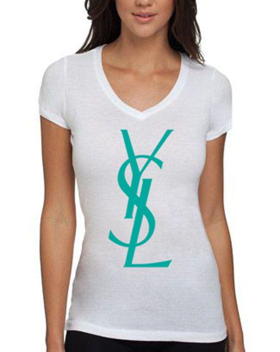 YSL Logo Womens White TShirt Large by CaliShirtsandMore on Etsy, $22.00: Women T Shirts, Lingoapparel, Etsy, Inspiration Tshirt, Shirts Ysl Tees Chanel, Logos Women, Ysl Logos, Women'S T Shirts, Prints Shirts