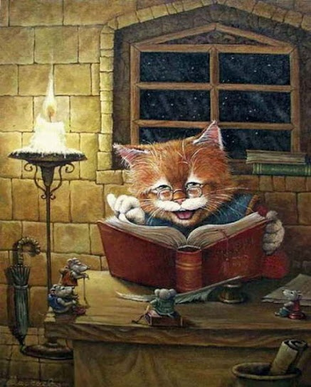 Cats read late at night when we are not watching