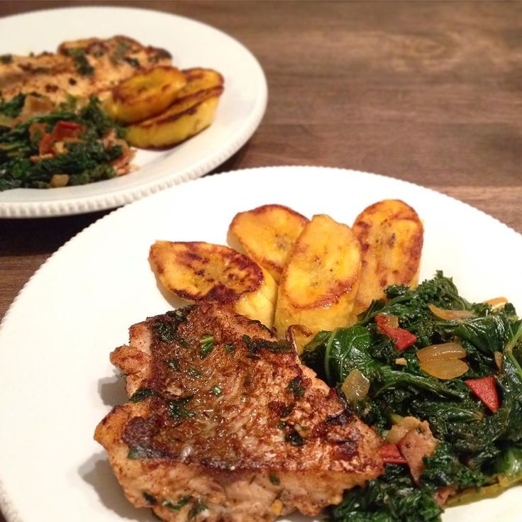 Snapper with Jamaican Callaloo and fried Plantain.  Callaloo is originated in West Africa but is more common in Caribbean. There's different way to make it; like with coconut milk which is TrinidadTobago way (and Filipino). But Jamaican way is with onion tomato peppers... Which is really similar to how we make collard greens here in the south and that's because African American brought it here. Marinated with basilparsleythymegarlicpaprikawhitepepperallspicelemonsaltpepper with oil.