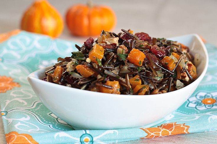 Wild Rice Pilaf with Butternut Squash, Cranberries, and Pecans