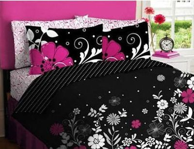 Hot Pink Black & White Teen Girls Comforter Twin Set 5 Piece Bed In A Bag Dorm