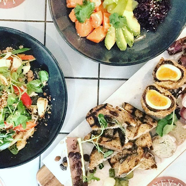 Breakfast / Brunch / Lunch is on in the Public Bar, and this stuff is sure to make you feel healthy as heck before the night ahead. Salmon Poke | Asian Chicken Salad | Meat Board. Delish.