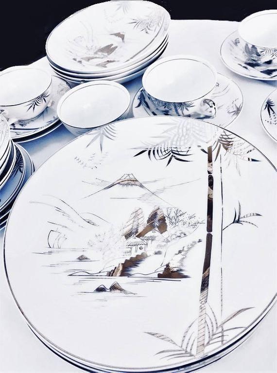 2fd939add678 Kutani Japan China Set for 5, hand painted silver bamboo pattern, platinum  dinnerware KUT78, Mt. Fuji 33 pieces