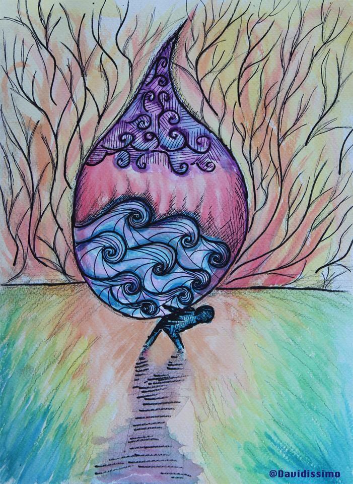 Il peso di una #lacrima #watercolors #art