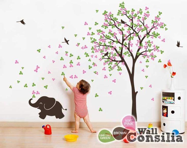 Baby Kinderzimmer Wandtattoo   Baum Wall Decal Elefant Aufkleber Baum Wandu2026