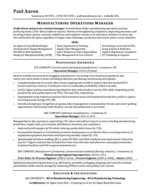 View This Sample Resume For An Operations Manager Or Download The Operations Manager Resume Templa In 2021 Operations Management Manager Resume Project Manager Resume