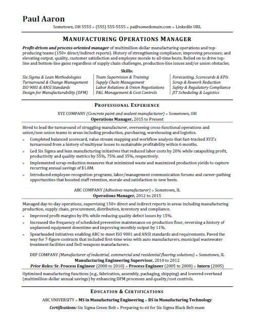 Operations Manager Resume Sample Monster Com Operations Management Manager Resume Project Manager Resume
