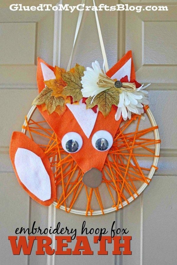 Embroidery Hoop Fox Wreath Family Fun Activities Kid Craft Ideas