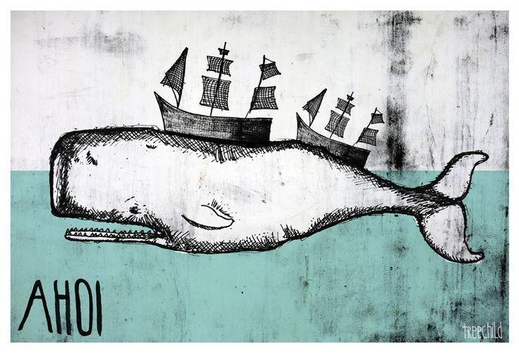 """Digitaldruck - Print """"AHOI (Whale)"""" DIN A 4 - ein Designerstück von TreeChild bei DaWanda"""