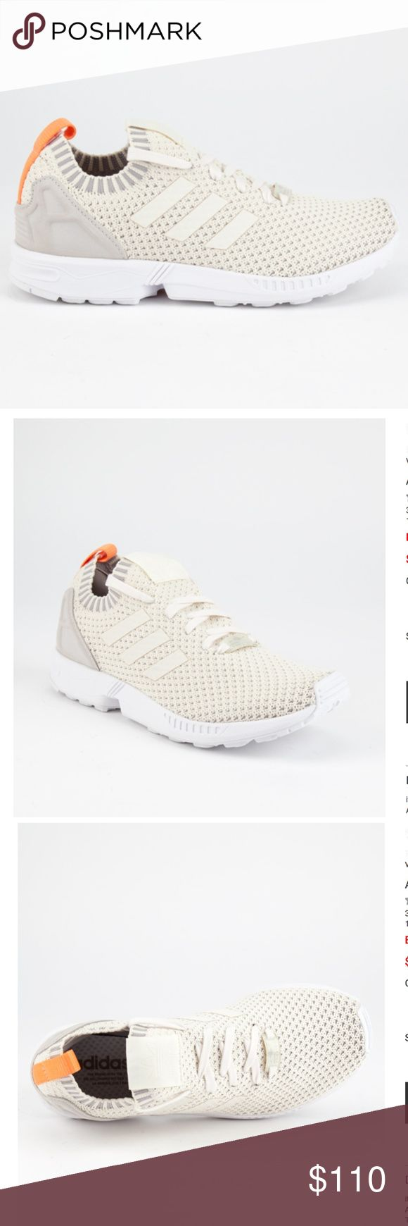NWT Adidas ZX Flux Primeknit Sneakers - Size 8 Brand new in box! Adidas ZX Flux Primeknit shoes.   Woven knit upper with welded TPU 3-Stripes Torsion Systemfor midfoot integrity, EVA midsole, supportive heel cage, rubber outsole  Color: Chalk Size: 8 adidas Shoes Sneakers